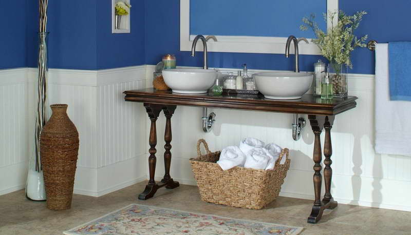Beadboard-Bathroom-Ideas-With-Rattan-Basket