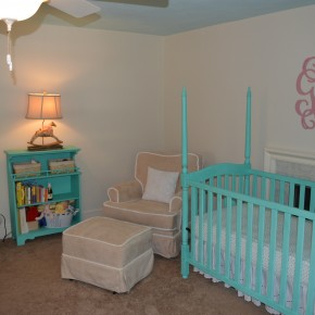 Completed Turquoise And Beige Nursery