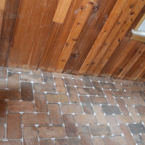 Tile Floor in Little Brick Outbuilding