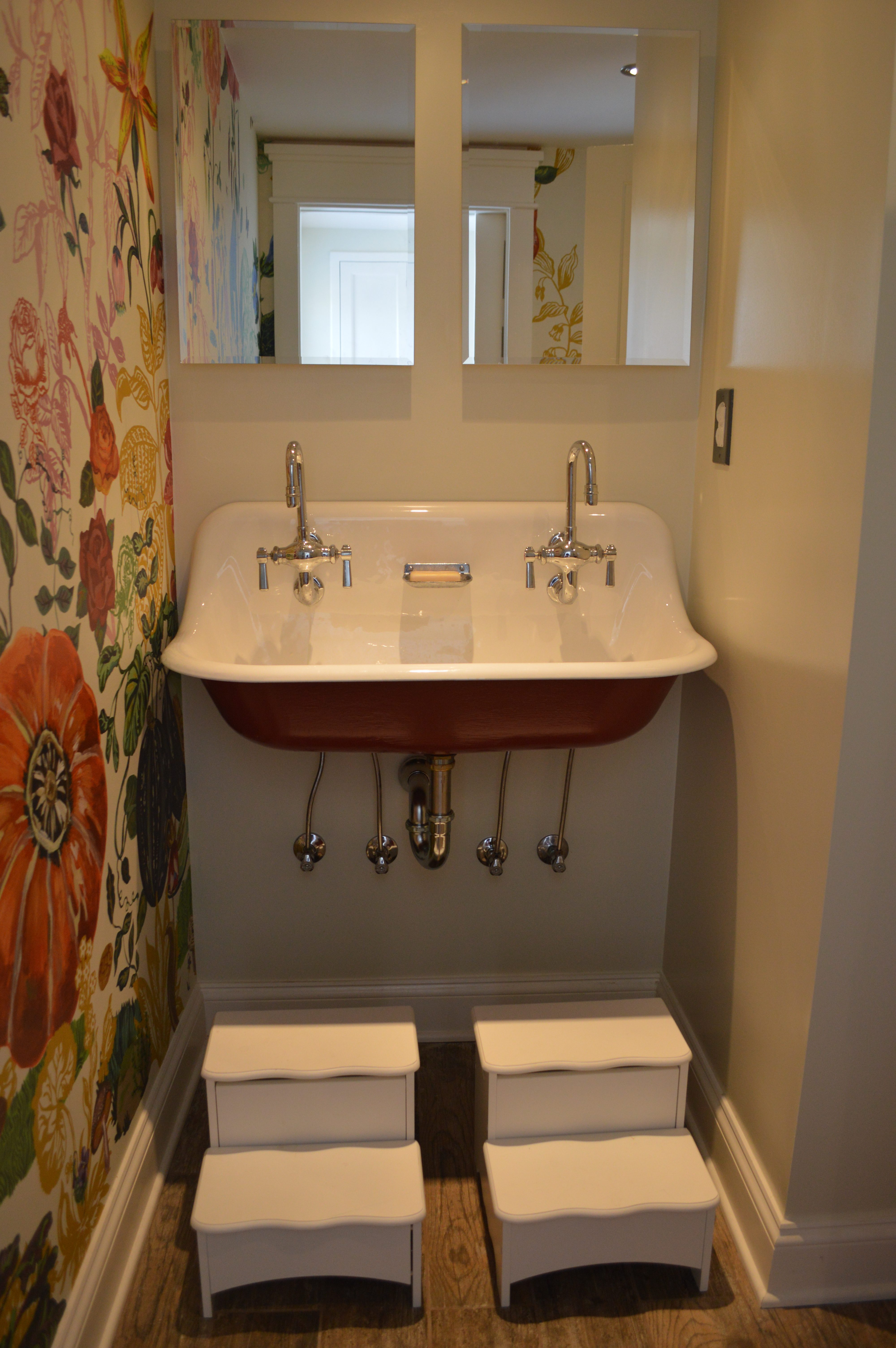 the mural from turned out great love the kohler brockway sink painted in parisian red right next to it